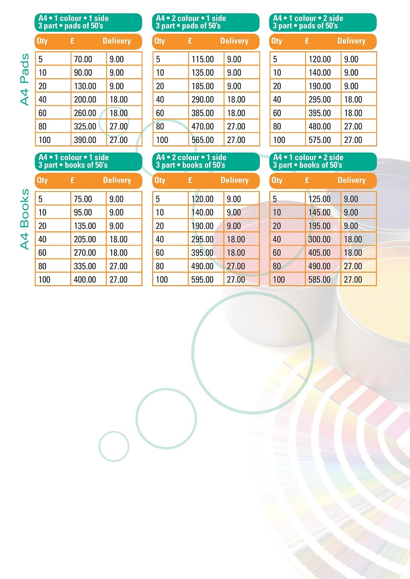 Colour Pricelist